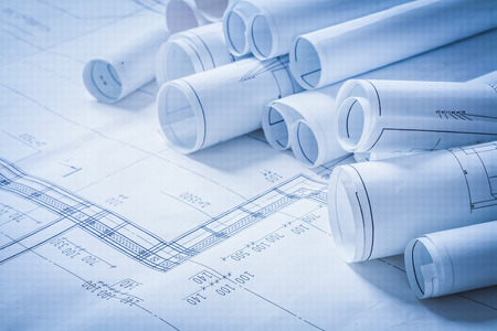 architecture design: Variety of engineering construction drawings building concept
