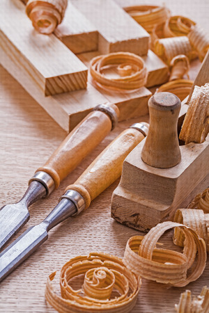 scobs: very close up view joinery tools old fashioned woodworkers plane Stock Photo