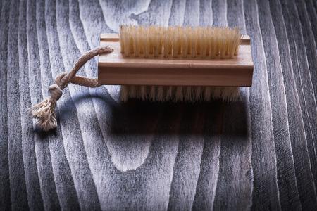 scrubbing: Vintage wooden board with scrubbing bath brush horizontal view sauna concept