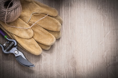 pruning shears: Copy space of metal pruning shears brown leather gardening gloves and skein of string on wooden surface agriculture concept. Stock Photo