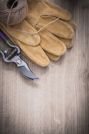 skein: Metal secateurs brown leather gardening gloves and skein of string on wooden surface agriculture concept.