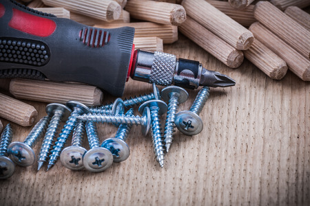 turnscrew: Stack of wooden dowel pins steel nails and insulated turnscrew. Stock Photo