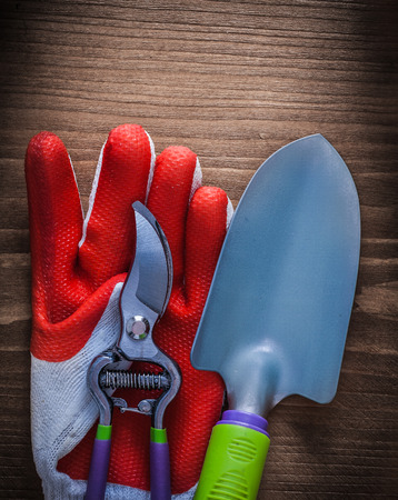 pruning shears: Protective glove steel gardening pruning shears and trowel agriculture concept.