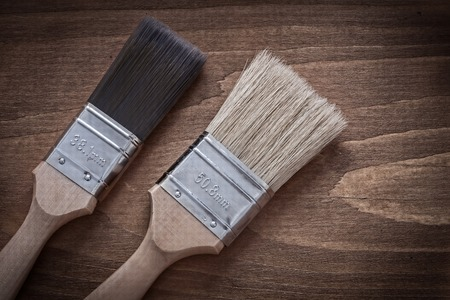 bristle: Two paint brushes with wooden handles and bristle horizontal view.