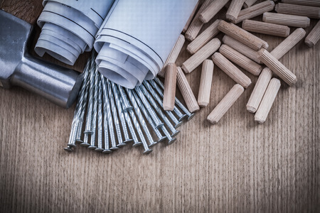 construction nails: Rolled blueprints claw hammer pile of dowels and construction nails. Stock Photo
