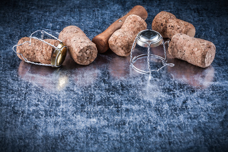 champagne cork: Champagne cork plugs metal twisted wire corkscrew