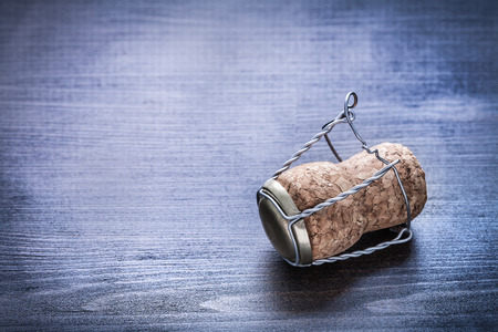 champagne cork: close up view on champagne cork with wire. Stock Photo