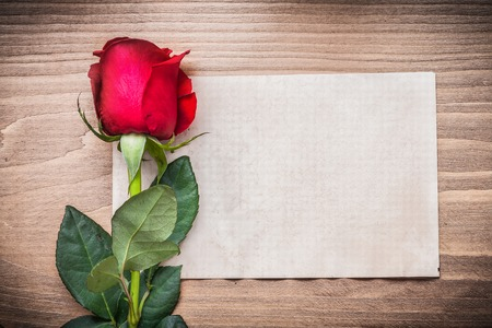 expanded: Blank sheet of paper and red rosebud on wooden board.