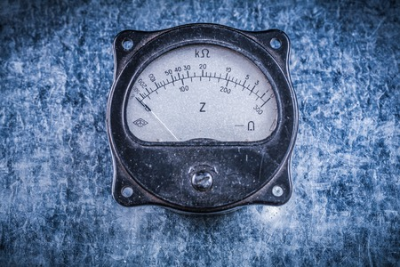 ammeter: Electric instrument of measurement on metallic surface electricity concept.