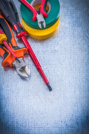 electrical equipment: Composition of cutting pliers insulation screwdrivers insulating tape.