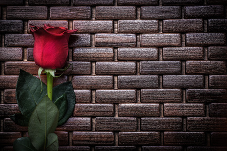 matting: Expanded scented rosebud on wicker wooden matting holiday concept.