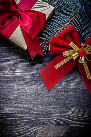 fir twig: Christmas red knot fir twig present box holidays concept.
