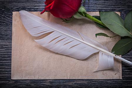 birthday greetings: Papel de la vendimia capullo de rosa roja pluma tabla de madera horizontal de la imagen en. Foto de archivo