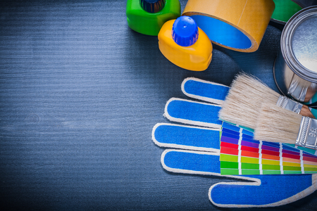 paint can: Paint can bottle pantone fan safety gloves paintbrushes adhesive tape.