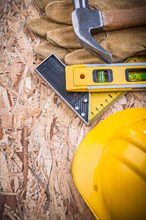 osb: Set of construction tools on OSB maintenance concept.