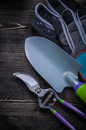 pruning shears: Safety gloves pruning shears hand spade on wooden board. Stock Photo