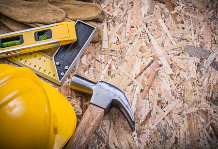 osb: Collection of construction tools on OSB maintenance concept. Stock Photo