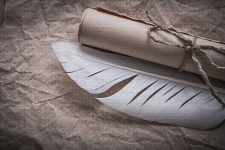 corded: Medieval corded paper roll feather on crumpled wrapping sheet. Stock Photo