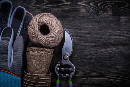 turba: Guantes de seguridad agudo vasos tijeras de podar de turba madeja de hilo. Foto de archivo