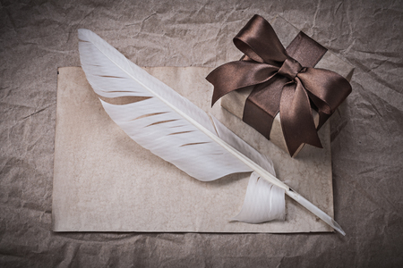 giftbox: Giftbox sheet of wrapping paper feather holidays concept.