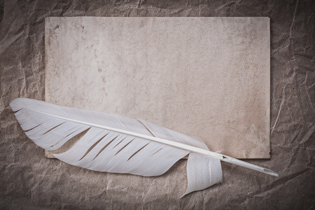 writing desk: Vintage sheet quill on crumpled wrapping paper.