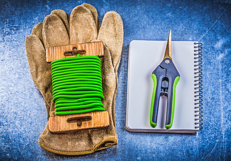 secateurs: Garden tie wire secateurs leather protective gloves workbook on metallic background.