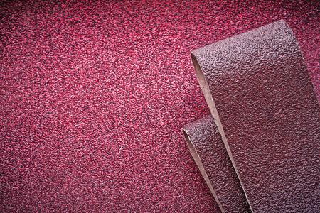 buffing: Abrasive paper on polishing sheet top view.