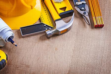 oaken: Oaken wooden board with variation of building working tools repairing concept