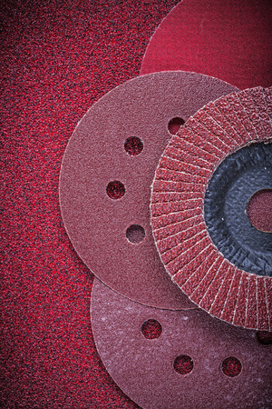 flap: Abrasive flap wheels sanding discs on glass-paper.