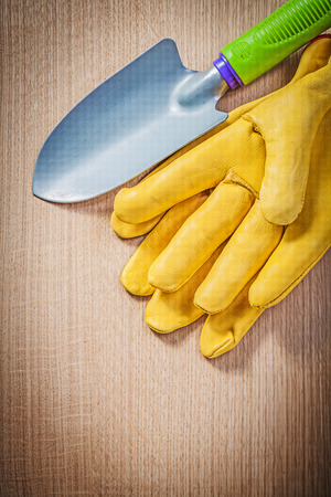 protective gloves: Protective gloves hand spade on wood board gardening concept.
