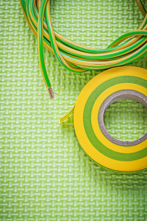 electric wires: Insulation tape electric wires electricity concept. Stock Photo