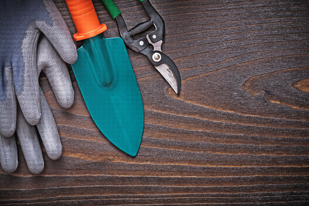 working gloves: Rubber working gloves hand spade and secateurs on vintage wooden board agriculture concept.
