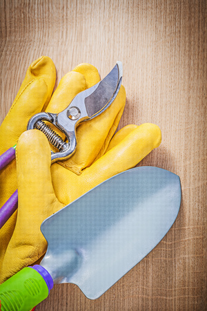 pruning shears: Leather safety gloves hand spade sharp pruning shears on wooden board gardening concept. Stock Photo