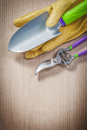 protective gloves: Protective gloves hand spade secateurs on wooden board gardening concept.