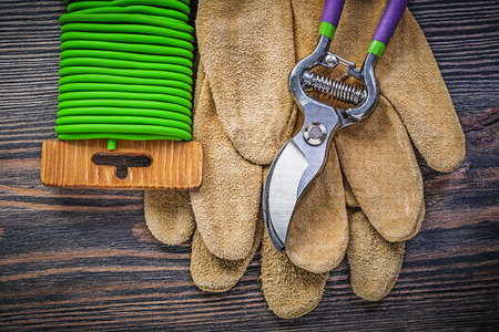 protective gloves: Secateurs leather protective gloves soft twist tie on wooden board gardening concept. Stock Photo