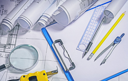architect tools: close up view on architect tools.