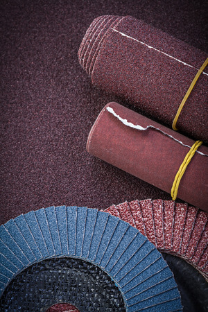 emery paper: Emery paper abrasive flap wheels on polishing sheet.
