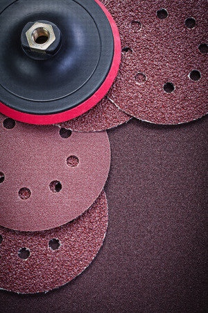 abrasive: Grinding wheels holder on polishing paper abrasive tools. Stock Photo