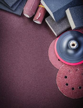 abrasive: Set of abrasive tools on polishing sheet vertical view.