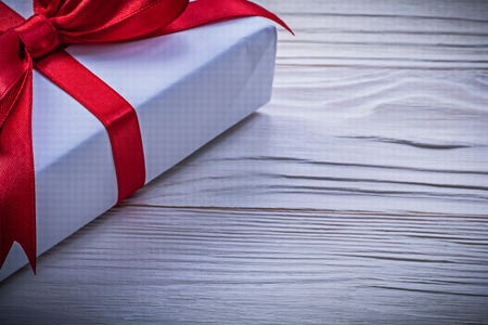 giftbox: Giftbox with red bow horizontal image holidays concept.