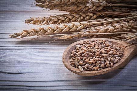 the ears of corn: Wheat rye ears corn wooden spoon on wood board.