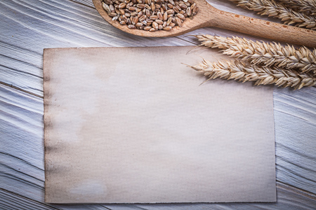 the ears of corn: Golden wheat rye ears corn wooden spoon blank vintage paper sheet on wood board.