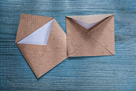 letter envelopes: Retro post envelopes letter on wooden board. Stock Photo