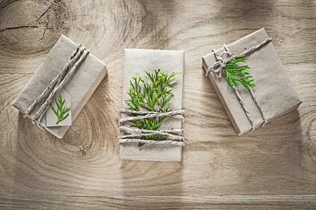 corded: Handmade gift boxes wrapped in shop paper with green branch holidays concept. Stock Photo