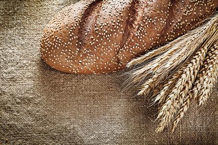 Rye ears bread on burlap background.