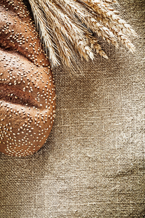 Rye ears bread on sacking background. Stock Photo