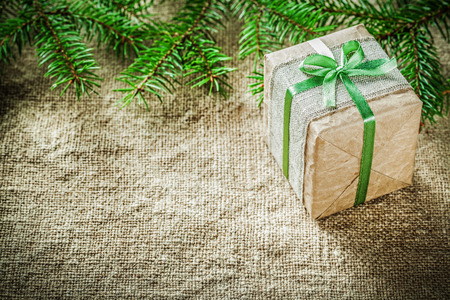 Pine tree branch handmade gift box on sacking background. Stock fotó