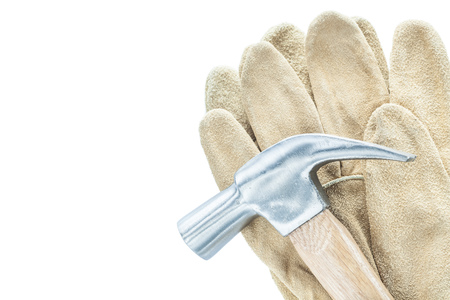 Claw hammer leather safety gloves isolated on white.