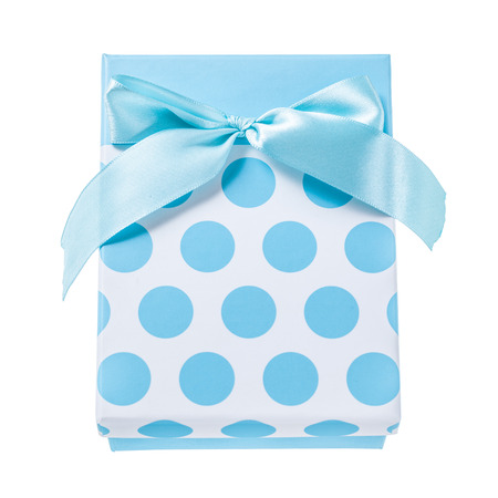 Blue present box isolated on white.
