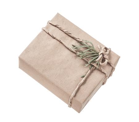 Vintage present box isolated on white. Stock Photo